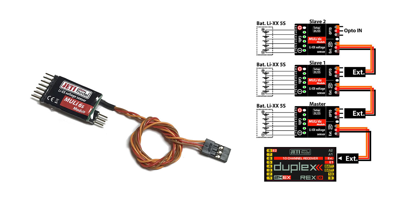 Jeti Telemetry 6S Individual Cell Modular Voltage Sensor (EX Bus Integration)